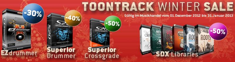 Toontrack Winter Sale vom 01. Dezember 2012 bis 31. Januar 2013