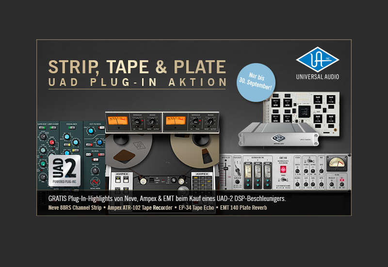 'Strip, Tape & Plate' UAD Plug-In Aktion bis 30. September 2013