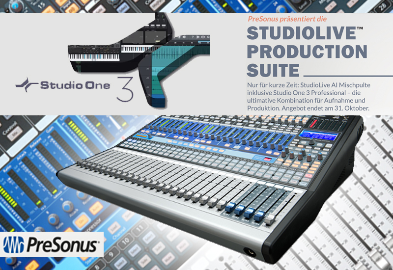 PreSonus: 444,00 € sparen durch Studiolive Production Suite