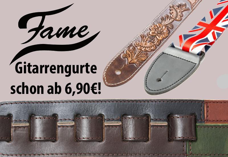 Jetzt neu: FAME-Gitarrengurte schon ab 6,90€!