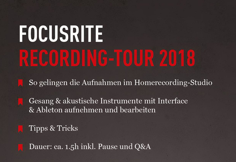 Focusrite Tour 2018 am 31.10.18 im MUSIC STORE