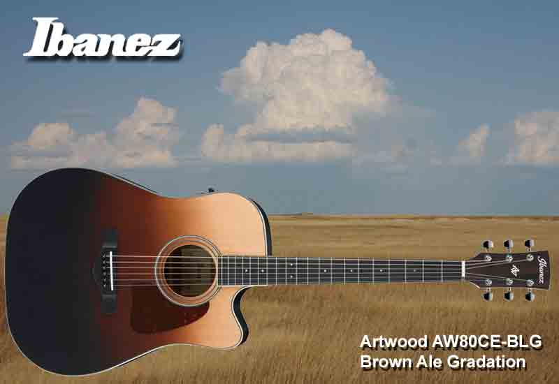 NAMM Show 2019 – Ibanez Artwood AW80CE-BLG Brown Ale Gradation