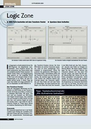 MIDI Parts bearbeiten mit dem Transform Fenster