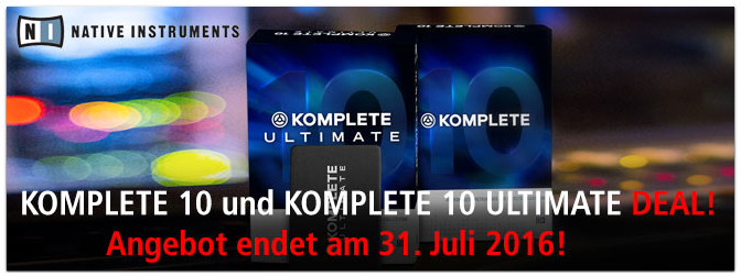 Native Instruments Komplete und Komplete Ultimate Deal bis zum 31. Juli 2016