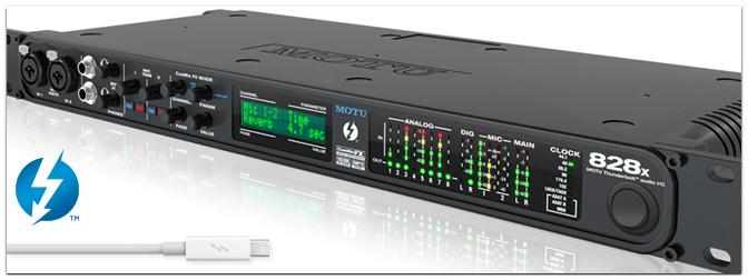 Motu 828x – Das meistverkaufte und mehrfach ausgezeichnete Audio-Interface von MOTU jetzt neu mit Thunderbolt-Technologie