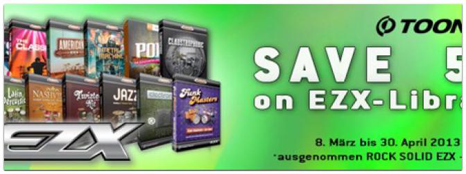 50% off im Rahmen der Toontrack EZX-Library Promo Aktion bis 30. April!