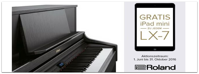 Gratis iPad mini II-Aktion zu Roland LX-7 Digitalpiano