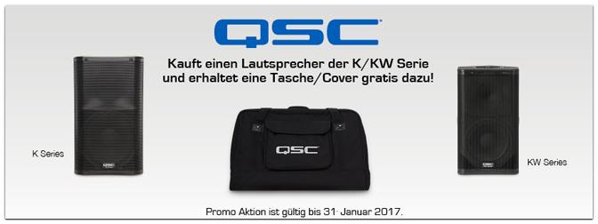 QSC Gratis Aktion bis 31. Januar 2017 – Kaufen Sie jetzt einen QSC Lautsprecher und erhalten Sie eine Tasche/Cover Gratis!