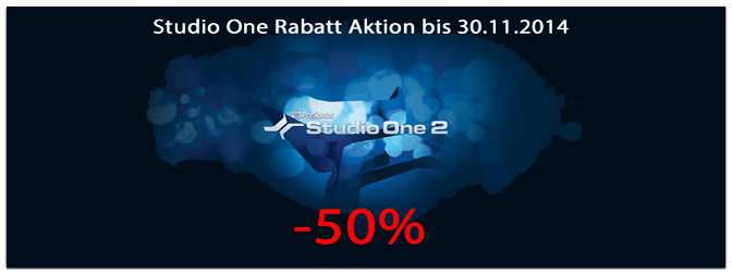 PreSonus Studio One 50% Rabatt Aktion