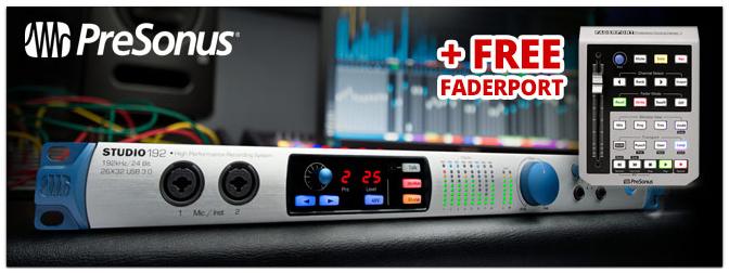 PreSonus Studio192 Sommer Aktion: Beim Kauf eines Studio 192 Interfaces gibt einen PreSonus Faderport gratis dazu.