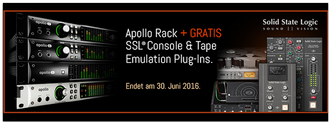APOLLO RACK PROMO MIT GRATIS SSL, ECHO & TAPE PLUG-INS