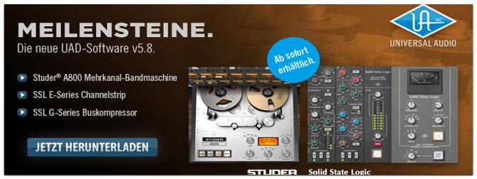 UAD Software5.8 jetzt mit Studer A 800, SSL Channelstrip und Kompressor