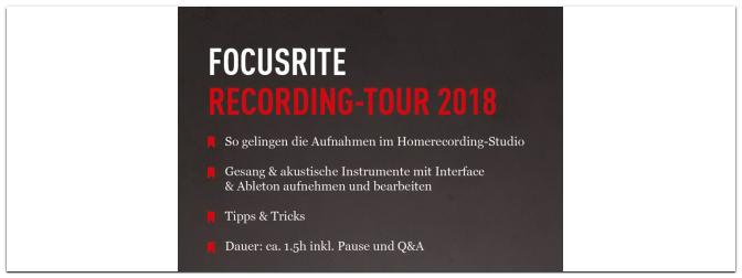 Focusrite Tour 2018 am 31.10.18 im MUSIC STORE
