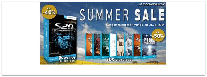 Toontrack Summer Sale ab 1.Juli 2014